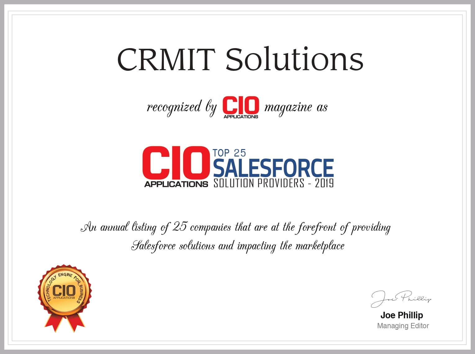 CIOApplication list of Top 25 Salesforce Solution